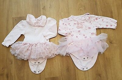 Baby Girls 0-3 months  Next Tutu Outfit x 2 bodysuits with tutu