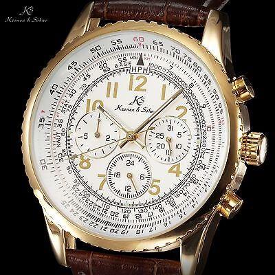 KS Men's Gold Case White Automatic Mechanical Date Day Fashion Sport Wrist Watch
