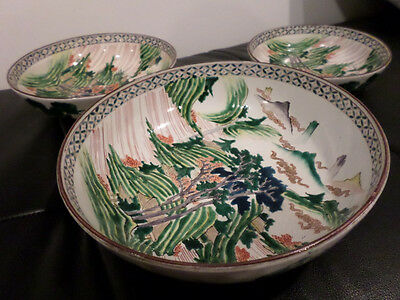 3 Beautiful Graduated Antique Kutani Bowls Very Rare