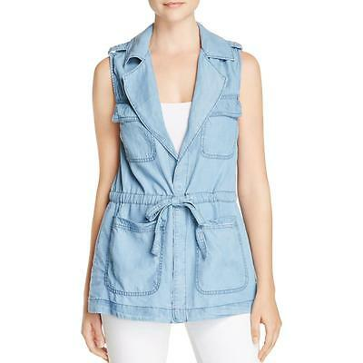 Sanctuary 9315 Womens Day Trip Blue Chambray Utility Casual Vest XL BHFO