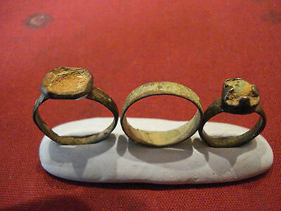 Three Genuine Ancient Uncleaned Roman Rings--Detector Finds