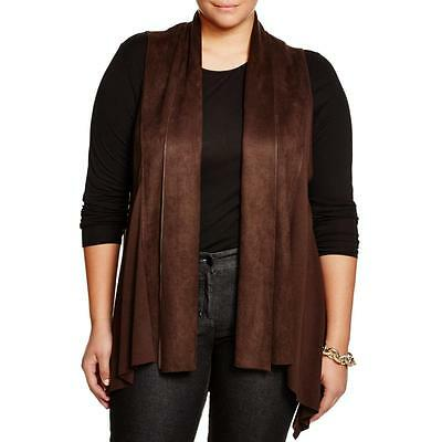 Karen Kane 9785 Womens Brown Draped Faux Suede Casual Vest Plus 2X BHFO
