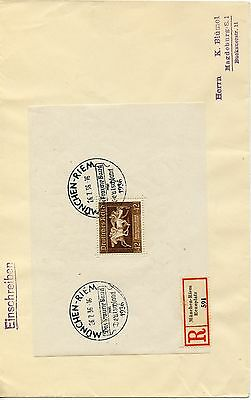 GERMANY--Registered Cover  from Munich 1936 with Scott #B90