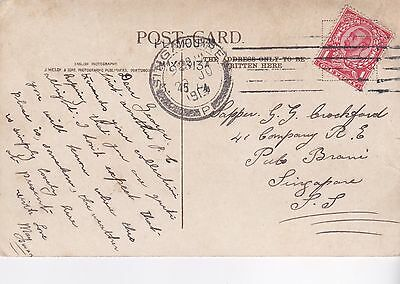 Good Gb 1913 Ppc Posted To A Soldier Serving With The 41 Com R.e. Singapore 28*