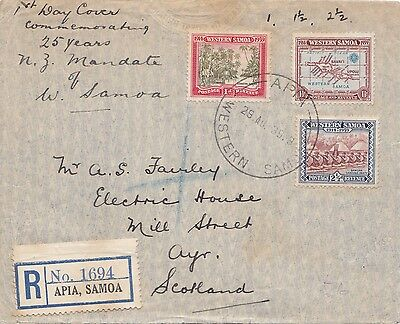 1939 Western Samoa Registered First Day Cover Posted To Ayr Scotland 27*