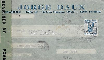 Ww2 1942 Brazil Opened And Resealed By Censor Airmail Cover Posted To Usa 27*