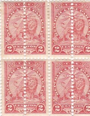 A Rare Paraguay Misperforated Error Block Of Four Stamps M/l/h Stunning 27*