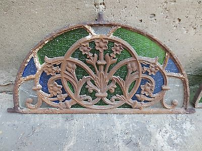 Antique Stained Glass Half Circle Window (A). Cast Iron Frame.
