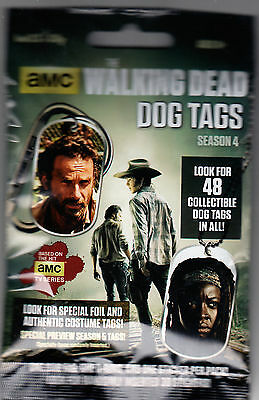 2015 Amc The Walking Dead Season 4 Unopened Collectible Dog Tags Pack / Sticker