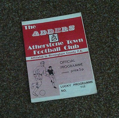FOOTBALL PROGRAMME- ATHERSTONE v ROMFORD (Southern League- 25th August 1973)