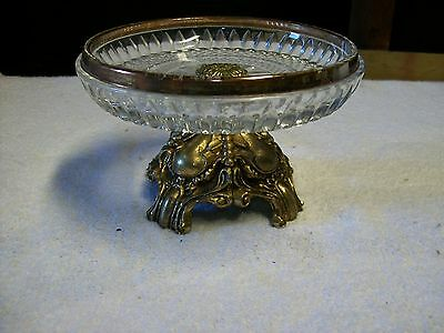 "Vintage 6"" Lead Bronze Base Glass Plate Dish Very Heavy ? Very Nice"