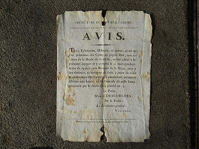 Original French Notice, issued Drome, between 1800-1815