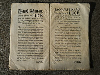 Original 1757 Decree, Issued by Jacques Pineau Baron De Luce, in French & German