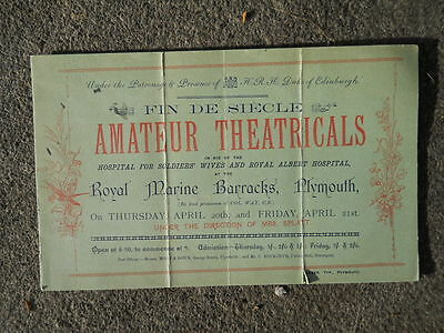 Fin De Siecle, Amateur Theatricals, Plymouth Barracks,  posted and stamped 1893