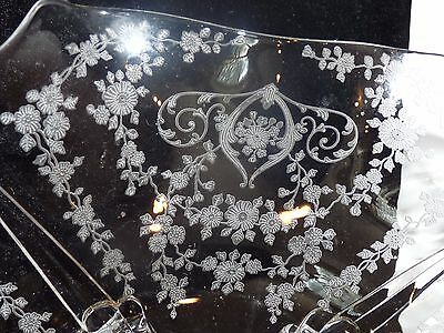 "1930s Cambridge Elegant Glass Diane 12.5"" Flared 4-Footed Bowl #993 Etched EUC"