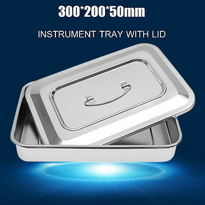 201 Stainless Steel Instrument Tray With Lid Medical Dental Storage Box Case