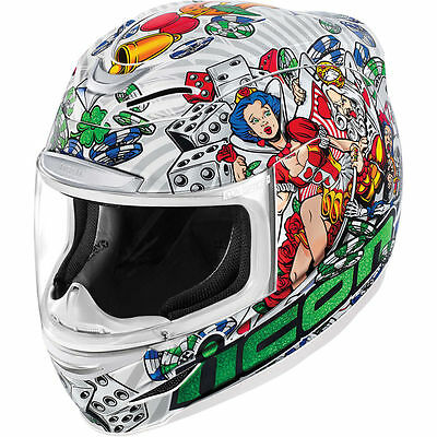 Icon Airmada Lucky Lid 2 Casino White Full Face Motorcycle Helmet All Sizes
