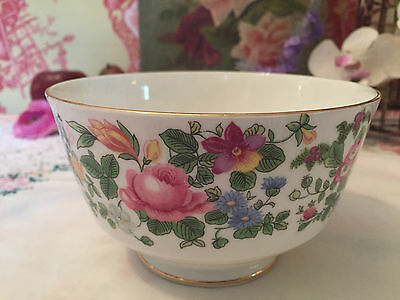 Vintage Crown Staffordshire China Sugar Bowl Large Basin Floral Thousand Flowers