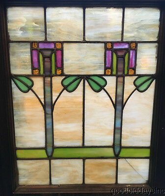 """Colorful Antique 1920's Stained Leaded Glass Window 25"""" by 20"""""""
