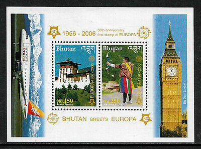 Bhutan 1422a Mint Never Hinged S/Sheet - 2006 Europa Stamps Anniversary