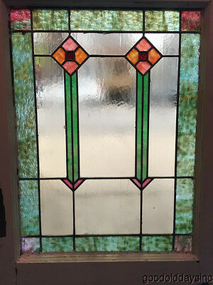 """Antique Stained Leaded Glass Window from Chicago 29"""" by 22"""" circa 1920"""