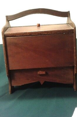 Vintage Wood Wooden Craft Sewing Box  Hinged Lid And Unique Thread Storage
