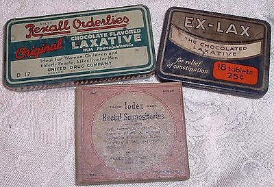 Antique Things To make you Poop Iodex Retal Suppositories Rexall & Exlax Tins