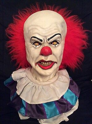 Pennywise clown IT Stephen King mask/bust with/without eyes Horror Tim Curry