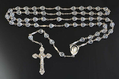 Superb VINTAGE DOUBLE CAPPED CUT CRYSTAL Rosary on STERLING SILVER 74g NR