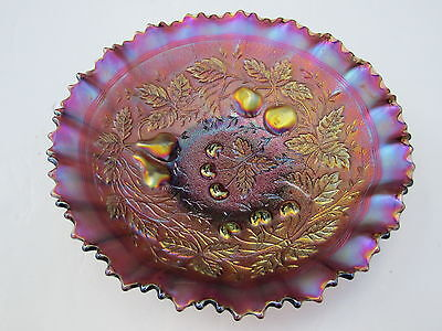 Northwood Amethyst Stippled & Banded 3 Fruits Pie Crust Edge Carnival Glass Bowl