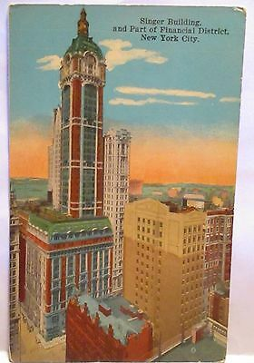 1915 Tint Postcard  Singer Building Part Of Financial District New York  Unused