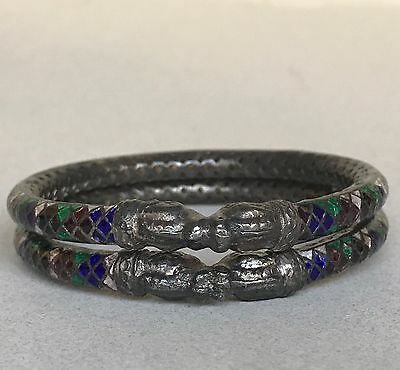 Pair Antique Asian Chinese Enamel Silver Filigree Dragon Bangle Bracelet