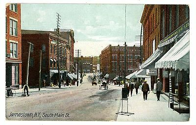 Jamestown NY - SOUTH MAIN STREET STORE FRONTS - Postcard