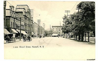 Hornell NY - VIEW DOWN BROAD STREET - Rotograph Postcard