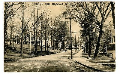 Highland NY - VIEW UP ELTINGS HILL - Postcard Ulster County