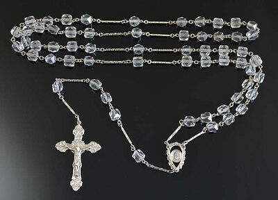 Sparkling VINTAGE ROCK CRYSTAL Rosary with on STERLING SILVER NR