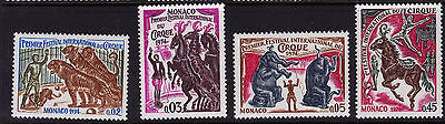Monaco 920-923 MNH Circus Animals Horses, Elephants, Tigers