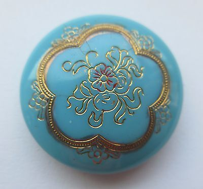 Beautiful Antique Victorian GLASS BUTTON Turquoise w/ Incised Gold Luster Design