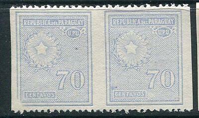 Paraguay 1927/38 Sc 286 MH ERROR Horizontal  Pair Imperf between 70c SKU 940