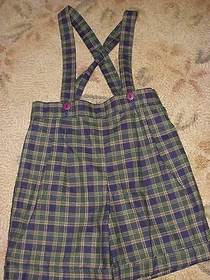Vintage Toddler Boys Plaid Shorts with Suspenders 4T