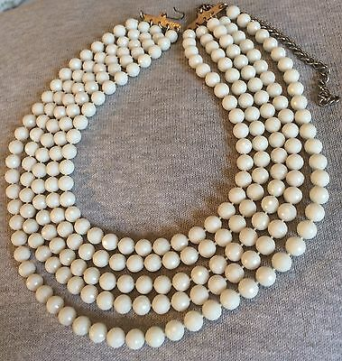 Vintage c. 1960s 5 Row White Faceted Plastic Bead Necklace Open End Clasp