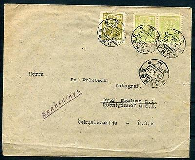 Lithuania 1925 Cover Kaunas to Czechoslovakia Nice cancels SKU 749