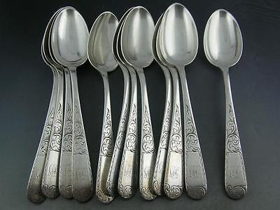 "12 Coin Silver 10.15 S KIRK & SON 7"" Oval Soup Dessert Spoons MAYFLOWER 1846"