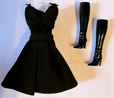 Barbie Collector Silkstone Classic Black Dress And Boots Only