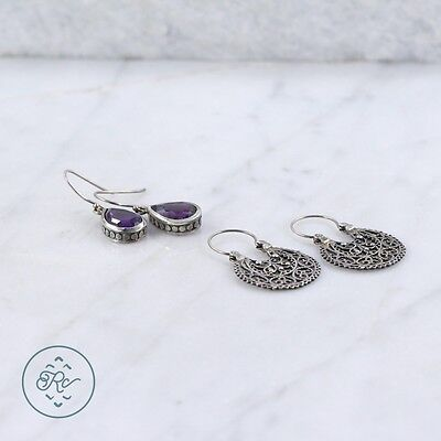 Sterling Silver | (QTY 2) Assorted Pebbled Amethyst Earring 8.5g | Lot MZ4933