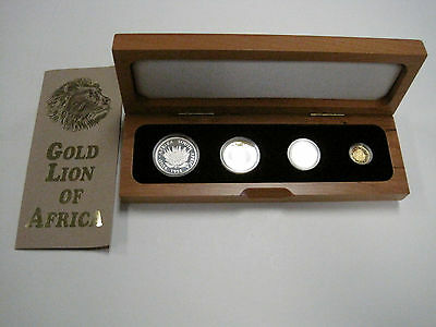 Super RARE 1994 South Africa NATURA BIG 5 Lion 4 Coin Gold & Silver ONLY 350 Set