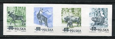 Poland Specimen (Wzor). 4 stamps strip. 1 design by Slania. Animals. Imp pol520