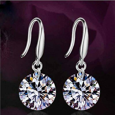 White Sapphire Crystal Silver Wishes Dangle Hoop Clasp Earrings Ladies Jewelry