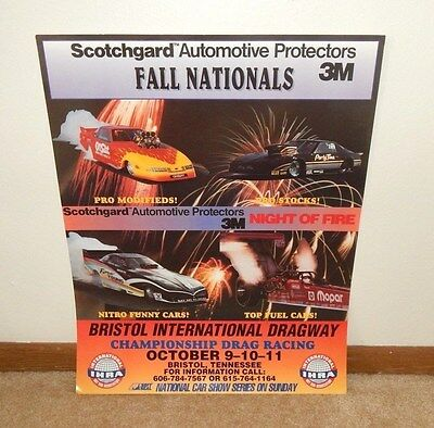 1992 IHRA Fall Nationals BRISTOL TENNESSEE Drag Racing Poster ~ NIGHT OF FIRE