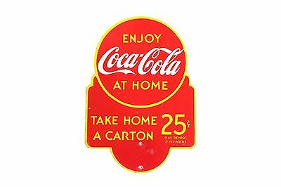 Vintage Original Coca Cola Take Home a Carton Soda Pop Advertising SIGN 25 Cents